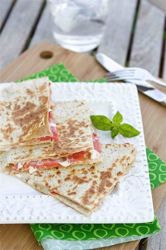 Caprese Quesadilla with Tomato, Mozzarella & Basil Mayonnaise Recipe