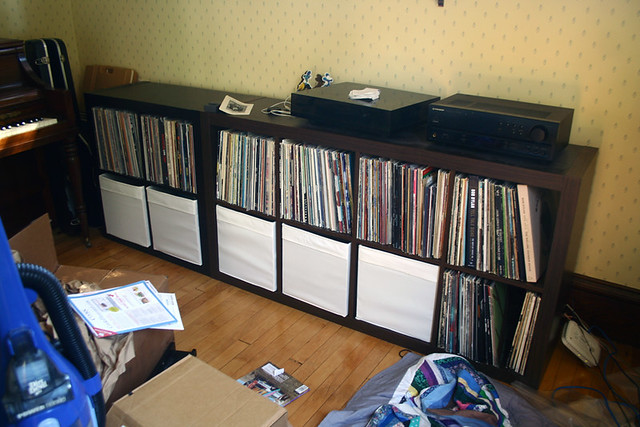 Record Shelf with toy storage