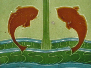 Art Nouveau Tile of Carp Playing in the Waves - Coburg