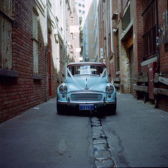 A Spring Wedding (Brendan_Timmons) Tags: wedding 120 6x6 tlr film car mediumformat spring melbourne alleyway morrisminor babyblue yashicamat kodakportra400 yashinon80mmf35