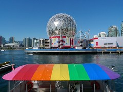 Colourful False Creek (Ruth and Dave) Tags: reflection ferry vancouver boat rainbow colours dome falsecreek geodesic aquabus scienceworld msh1011 msh10111