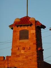 Albuquerque, NM Sante Fe Shops Fire Station tower (army.arch) Tags: newmexico stone albuquerque historic shops santefe nm magichour historicpreservation atsf