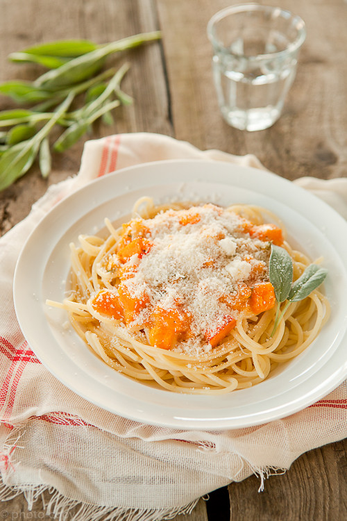 Pumpkin pasta with peccorino and sage