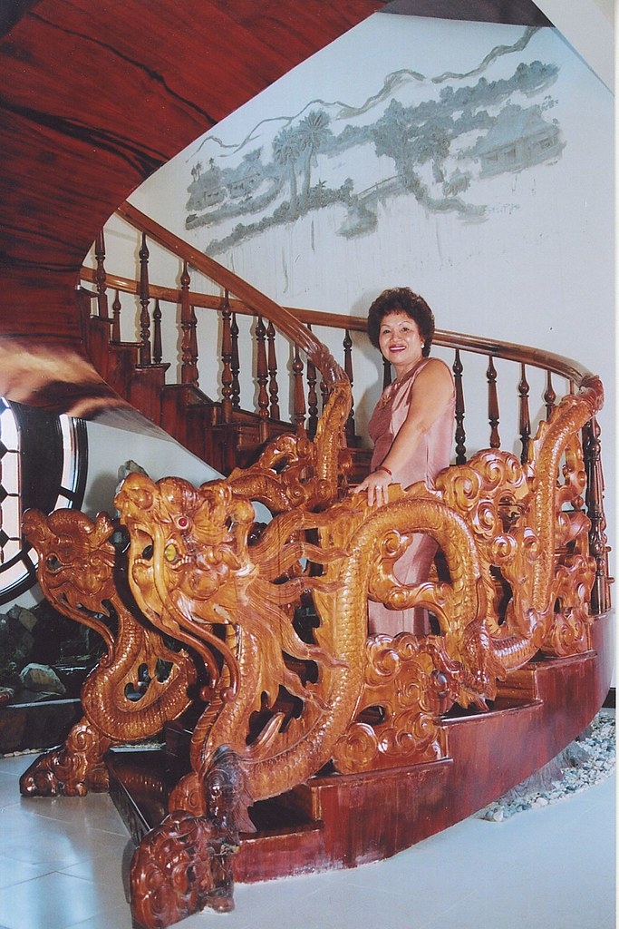 Spiral Teak Hand-scrolled Staircase
