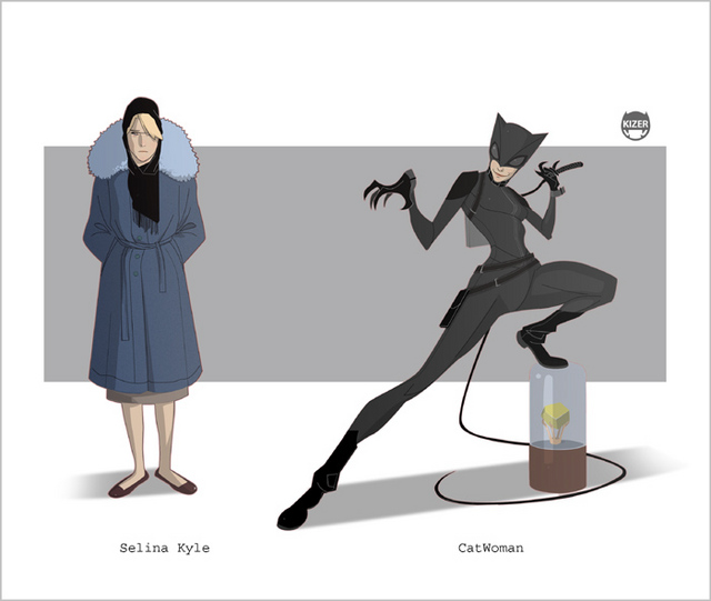mulher-gato desenho nerd