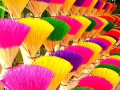 Colored Incense (Studio Yuki) Tags: pink nepal india cute green yellow fun photography co
