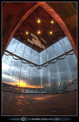 Mas - 5 star cathedral (Erroba) Tags: sunset sky glass clouds canon reflections river caitlin lights mas belgium belgique harbour curves belgi sigma fisheye inside antwerp schelde curved erlend antwerpen anvers 10mm 60d museumaandestroom erroba robaye