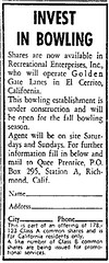 With the opening of Golden Gate Lanes about a month away, this ad appeared in the Oakland Tribune.
