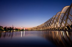 calatrava of gold (helen sotiriadis) Tags: longexposure sunset reflection architecture canon twilight athens greece calatrava bluehour scape waterscape canonefs1022mmf3545usm canoneos40d