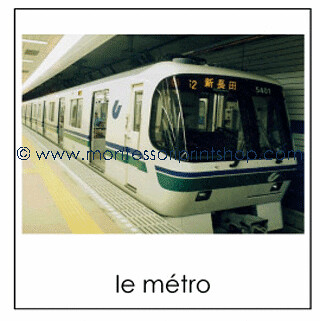 Ground Transportation Cards in French (Image from Montessori Print Shop)