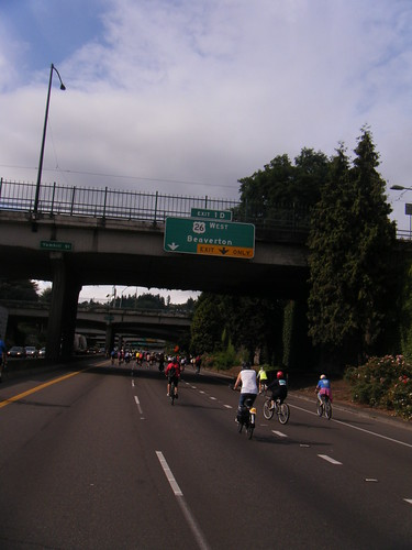 biking down the freeway