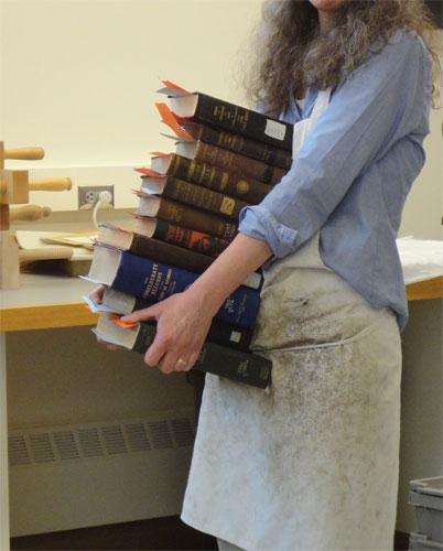Stack of books for repair
