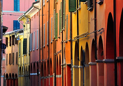 Arches, windows and colors (Explore, front page, Aug,18,2011) (pierluigi maria) Tags: city houses windows light red italy orange green colors yellow nikon columns arches bologna walls citycenter oldcity oldhouses emiliaromagna pinkpurple oldcitycenter viabroccaindosso nikond5000