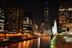 Trump Tower at Night (Seth Oliver Photographic Art) Tags: chicago buildings reflections iso200 illinois nikon midwest nightimages nightlights skyscrapers cities cityscapes nightshots trumptower chicagoriver pinoy riverwalk downtownchicago cookcounty nightscapes chicagoskyline urbanscapes secondcity nightscenes windycity longexposures chicagoist cityskylines d90 nightexposures 10secondexposure wetreflections cityofchicago urbanskylines cityofbigshoulders columbusbridge brightcitylights manualmodeexposure cityfrontcenter setholiver1 aperturef140 tripodmountedshot nocturneimages dusablebridge 1024mmtamronuwalens timedelaytriggeredshot