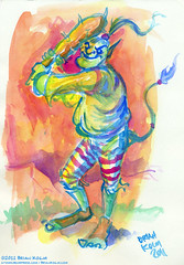 troll Baseball 8-2011 (atomicbear) Tags: watercolor painting baseball bat fantasy troll kolm
