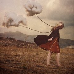 the path under the sky (brookeshaden) Tags: sky selfportrait storm mountains clouds landscape trapped wind rope dreams imagination pulling struggle brookeshaden texturebylesbrumes