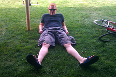 Jay relaxing near the MMA food tent at the end of 112-mile Day 1.