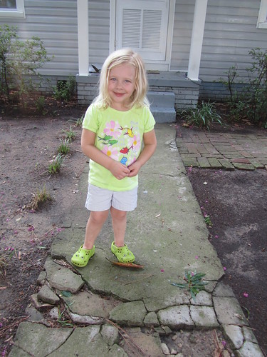 Erin stomping around in her crocks