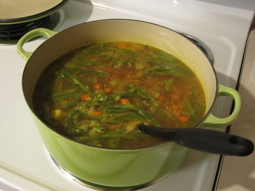 adding the haricots verts