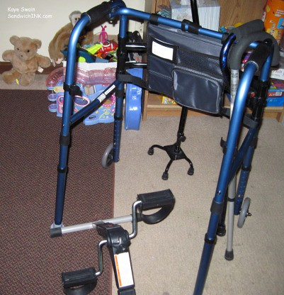 The tools of the trade for the Sandwich Generation - great-grandmas walker canes and mini exercise bike with the grandkids stuffed animals games and puzzles