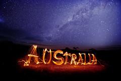 Australia (john white photos) Tags: longexposure sky night writing stars fire flames australian australia southern outback remote southaustralia milkyway eyrepeninsula gawlerranges