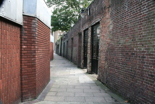 The alleyway with the old prison wall