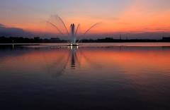 Pond Fountains 2 ( Spice (^_^)) Tags: sunset sky art water fountain silhouette japan clouds canon reflections geotagged photography eos photo twilight pond asia flickr colours image picture  5d   duckpond   waterscape saitamaken       pondfountain  kukishi mark   shobumachi