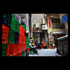 Centre Place (Monochrome Visions) Tags: city music graffiti alley guitar band australia melbourne victoria lane buskers laneway instruments busking bins crates doublebass centreplace canoneos1000d dexodexo douwedijkstra