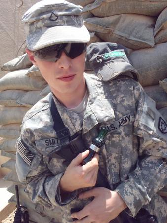 Pfc. Zachary Smith, a chaplain's assistant with 1st Battalion, 149th Infantry Regt., 77th Sustainment Brigade, 310th Expeditionary Sustainment Command