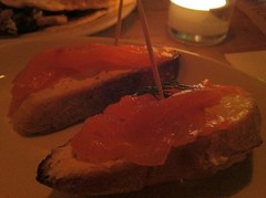 Smoked salmon, horseradish and dill crostino