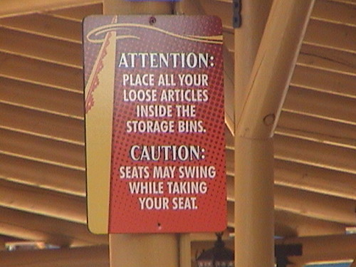 Windseeker queue sign, Swinging seats and Loose Articles, Fiesta Village, Knott's Berry Farm, Buena Park, CA, 2011.08.07 16:18