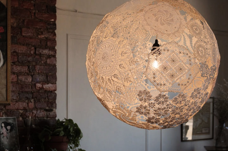 Upcycled Doily Lamp 2