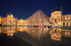 Louvre (Philipp Klinger Photography) Tags: longexposure blue roof light sky people orange woman paris france reflection art water girl lines yellow statue museum female night facade stars point gold lights golden vanishingpoint pond nikon frankreich europa europe long exposure pattern slow nocturnal angle pyramid louvre geometry monalisa wide lisa wideangle mona muse line musee slowshutter shutter bluehour vanishing philipp iledefrance sigma1224mm musedulouvre museedulouvre klinger d700 dcdead