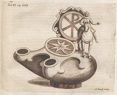 oil lamp or vessel design, with horse and rider ornament top