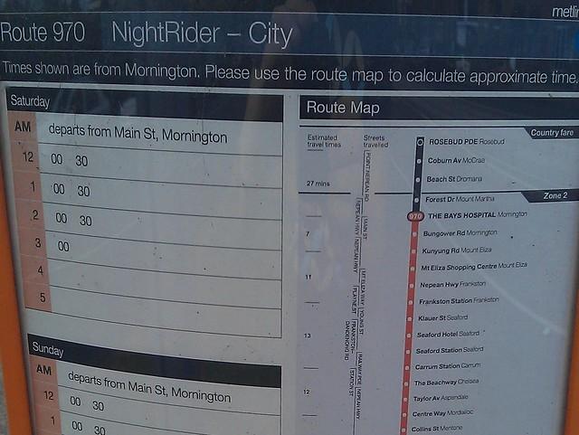 POTD: Nightrider stop timetables
