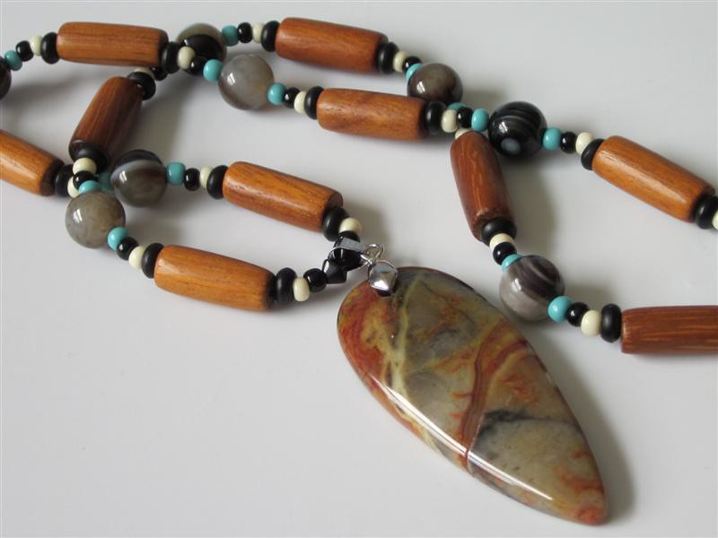 Beaded Gemstone Pendant Necklace Multi Color Picasso Jasper Southwest Native American