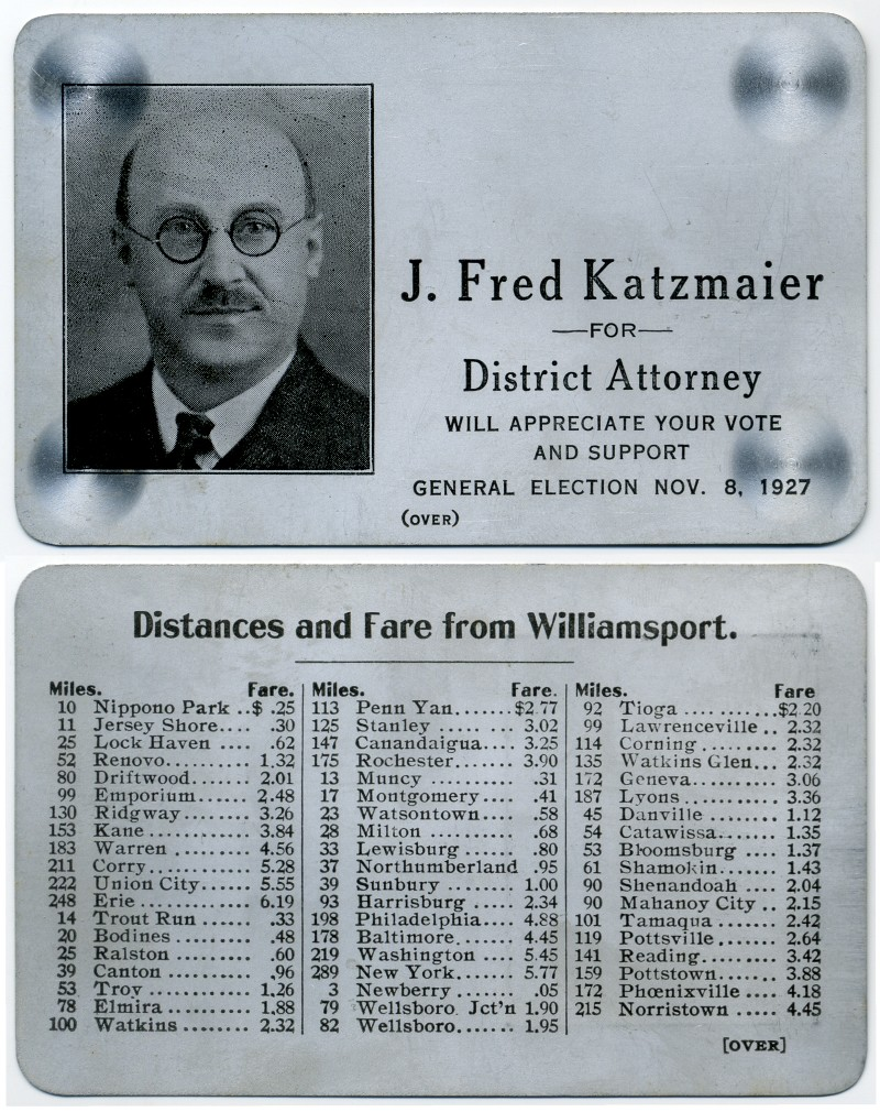J. Fred Katzmaier for District Attorney 1927
