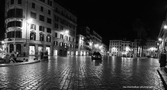 a quiet night at the plaza (Rex Montalban Photography) Tags: longexposure blackandwhite italy panorama rome europe stitched spanishsteps vertorama rexmontalbanphotography
