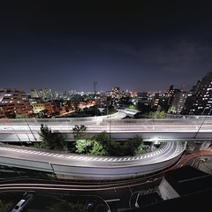 Interchange panorama 1/3 (Shin-Nagoya) Tags: longexposure panorama japan ic lowlight nagoya swirl nightview  aichi route23 interchange  citynight lighttrail lightstream urbannight nightpanorama carlighttrail afsnikkor1424mmf28g