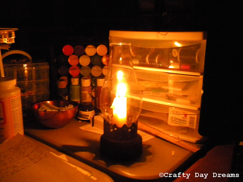 working by candle light