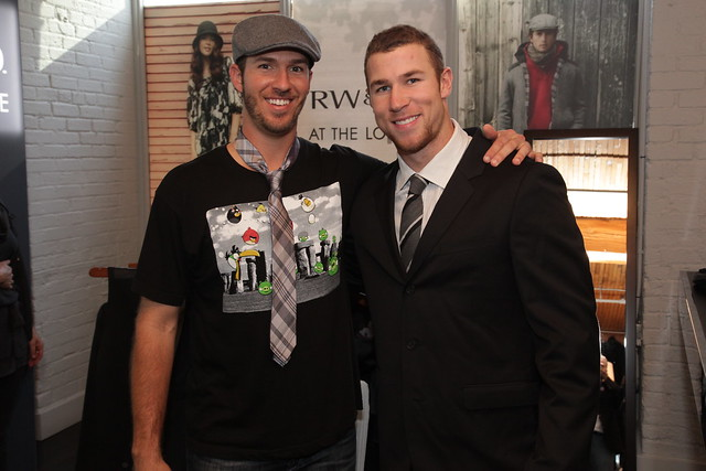 JP Arencibia and Brett Lawrie in the RW&Co suite at the IT Lounge