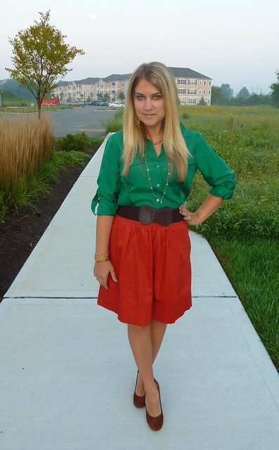 orange and green work outfit
