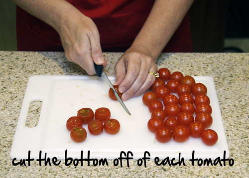cut off the tomato bottoms