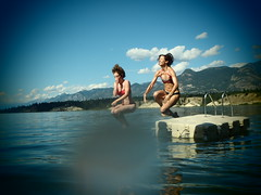 (amy.herbs) Tags: summer lake canada mountains water jump dock bc britishcolumbia rockymountains raft digitalpinhole