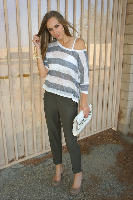Olive pants with gray stripe shirt