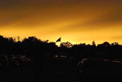 Flag Against Sunset Backdrop