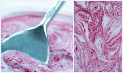 blueberry ice cream collage