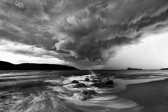 fury (< Nick Friend >) Tags: bw seascape storm water clouds rocks australia nsw centralcoast palmbeach pittwater barrenjoey lionisland ettalongbeach