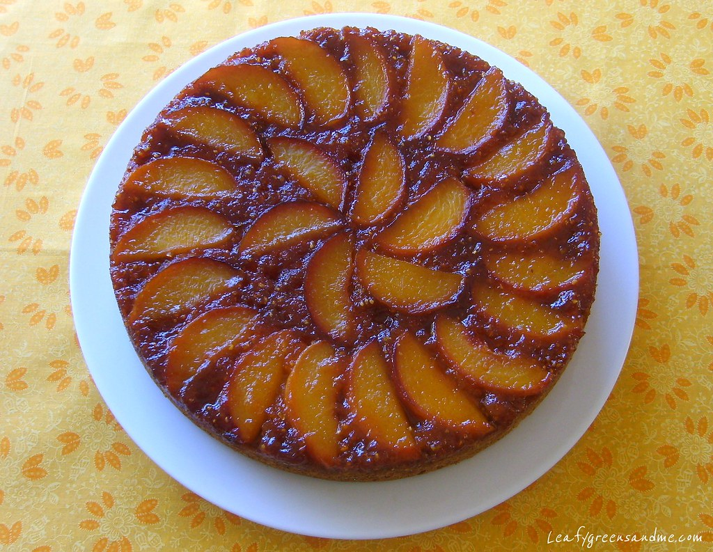 Caramelized Peach Upside Down Cake | Leafy Greens and Me