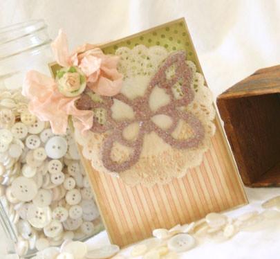 glittery butterfly card